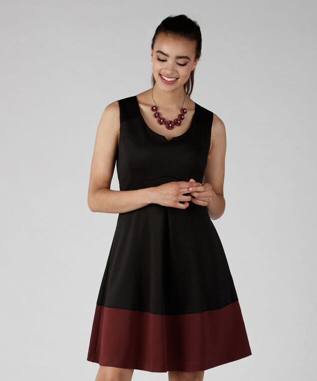 Sweetheart Neck Scuba Dress, Black/Burgundy, hi-res