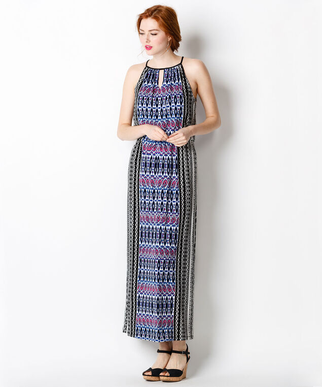 Twin Print Maxi Dress, Black Print, hi-res