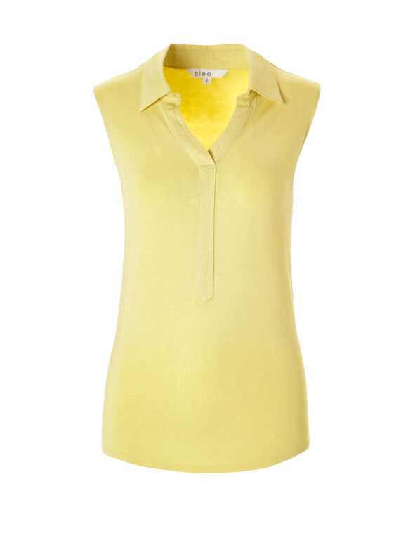 Yellow Collared Tee, Yellow, hi-res