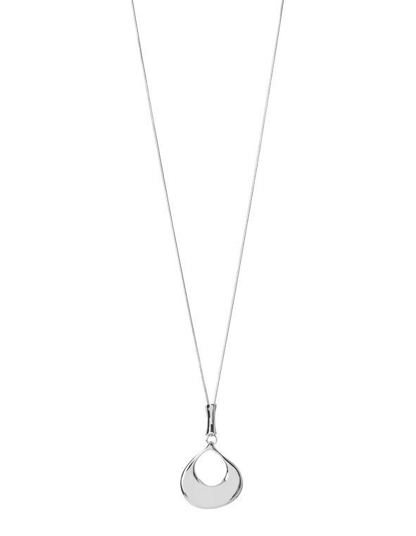 Teardrop Pendant Necklace, Rhodium, hi-res