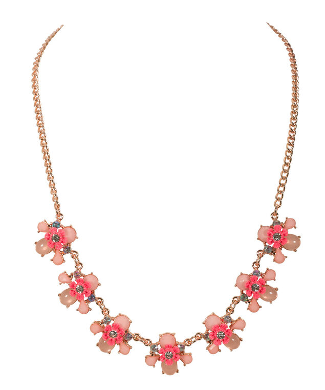 Pink Epoxy Statement Necklace, Pink/Soft Gold, hi-res