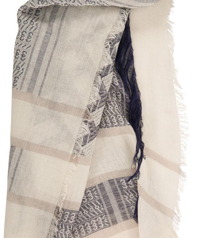 Textured Knit Fringe Scarf, Soft Indigo/Yellow, hi-res