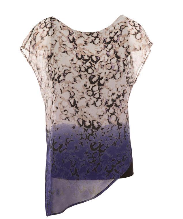 Asymmetric Chiffon Overlay, Purple Print, hi-res
