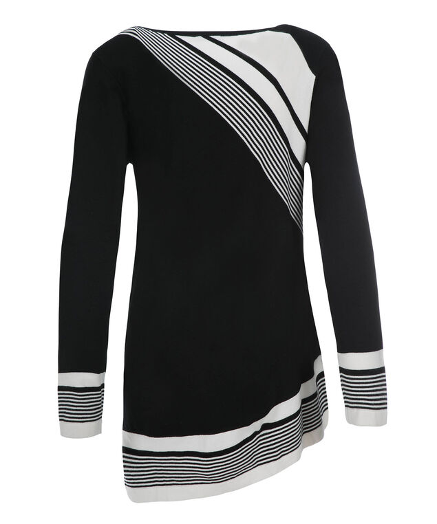 Asymmetric Stripe Tunic, Black Print, hi-res