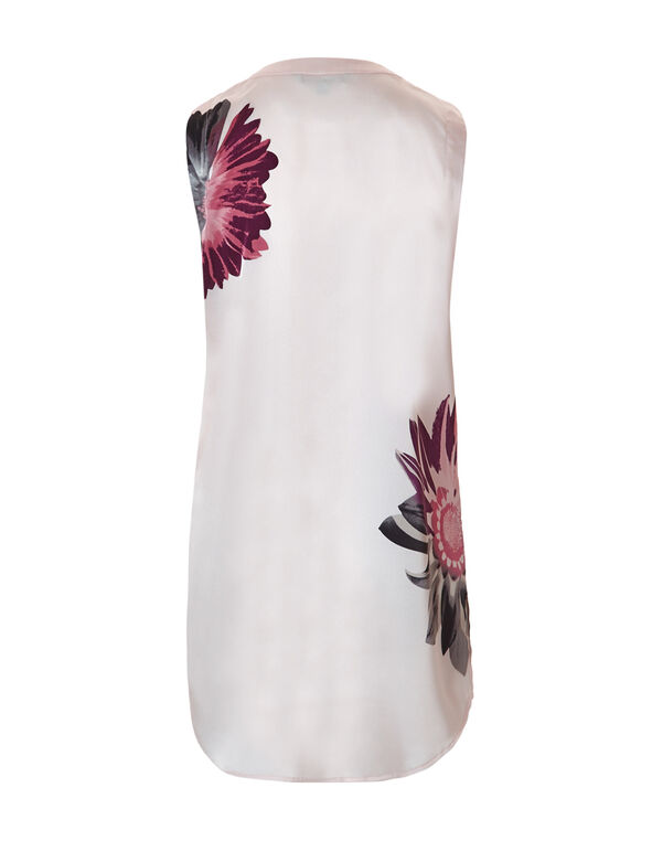 Long Collarless Floral Tunic, Pink Sand/Clay/Grey, hi-res