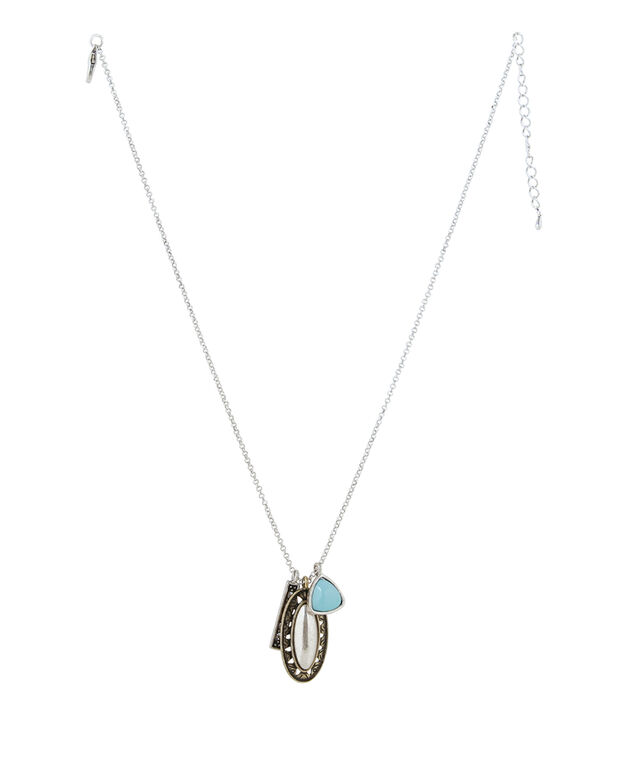 silver chain with 3 piece pendant, SILVER, hi-res