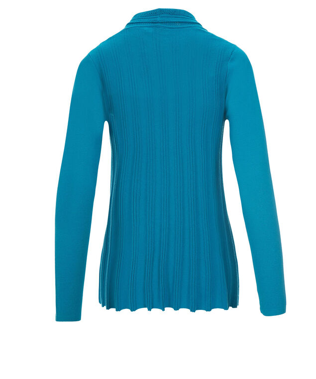 Ribbed Open Cardi, Turquoise, hi-res