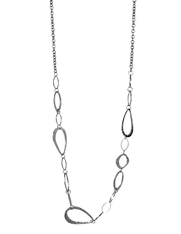 Rhodium Hammered Link Necklace, Rhodium, hi-res