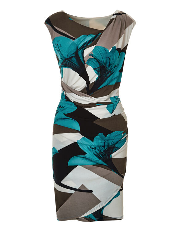 Floral Geometric Shift Dress, Turquoise/Black/Biscuit/Ivory, hi-res