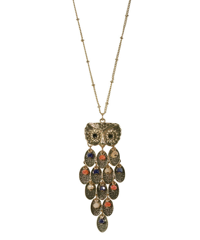 Layered Owl Pendant Necklace, Coral/Blue/Soft Gold, hi-res