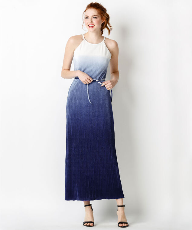 Ombre Border Maxi Dress, White/Blue Ombre, hi-res