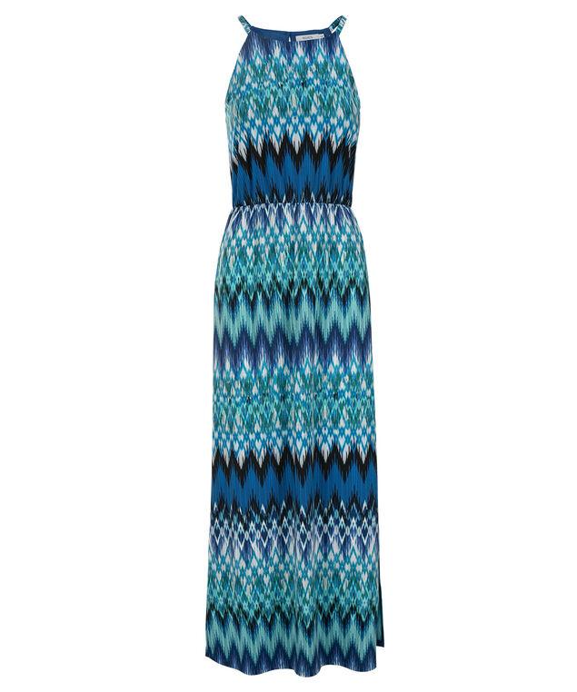 Chevron Print Maxi Dress, Blue Print, hi-res