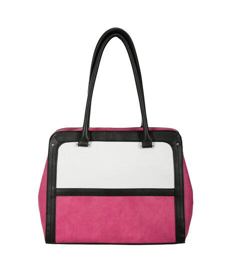 Colourblock Tote Bag, Pink/Black/Milkshake, hi-res
