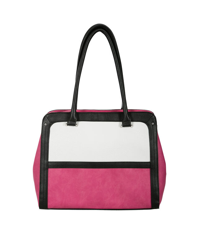 Colourblock Tote Bag, Pink/Black/Milkshake, hi-res