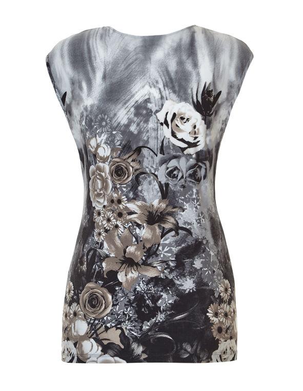 Neutral Floral Print Top, Grey/Mushroom/Black/White, hi-res