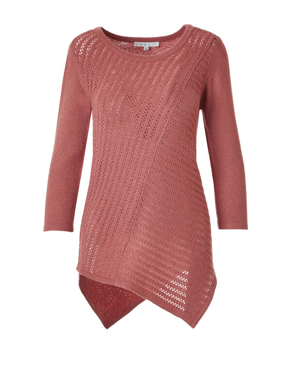 Knit Asymmetrical Sweater, Rosewood, hi-res