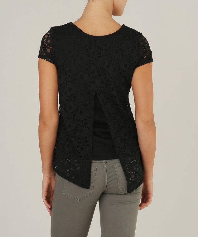 lace top with back opening - wb, BLACK, hi-res