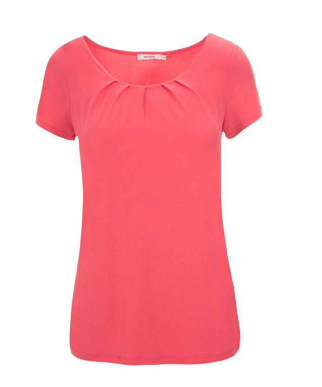 Short Sleeve Pleat Tee, Coral, hi-res