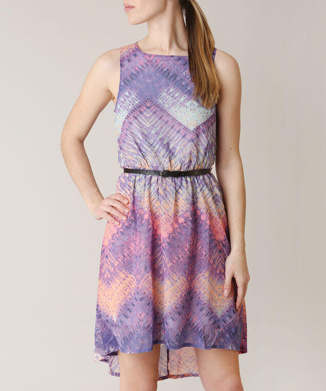 belted asymmetrical dress, PURPLE PTN, hi-res
