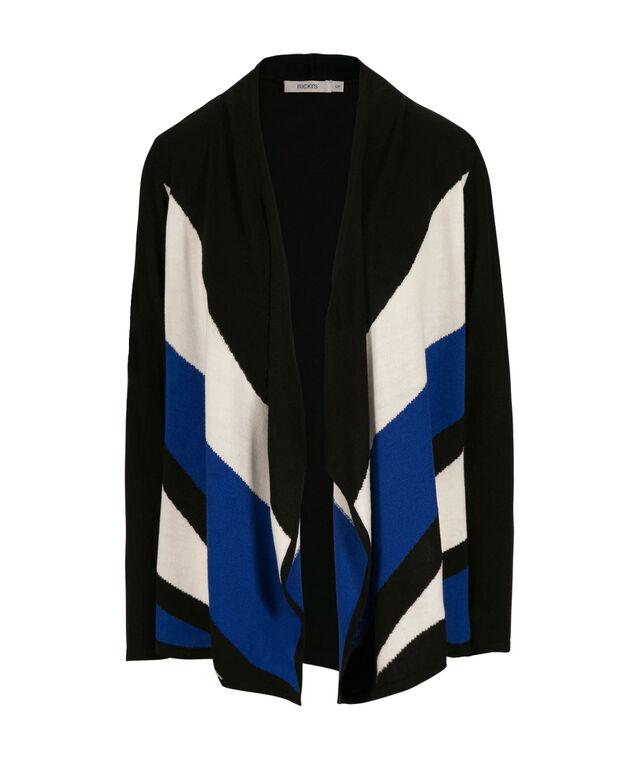 Drape Front Cardi, Ultra Blue Pattern, hi-res