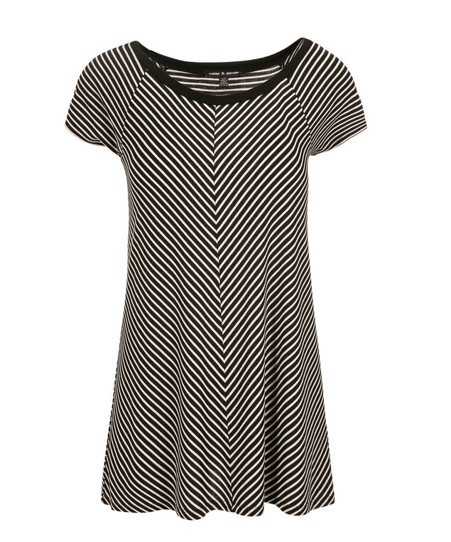 Striped Tee, Black/White Print, hi-res