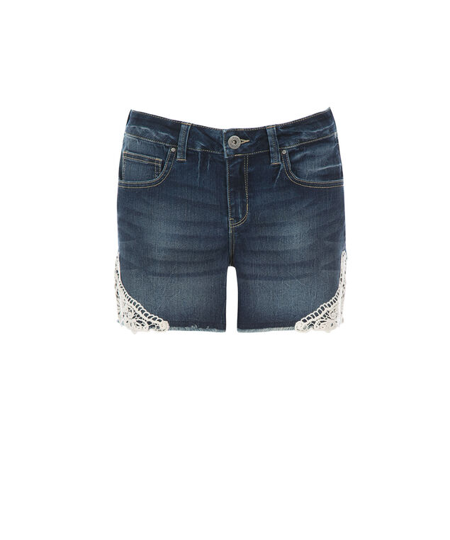 Brooke Crochet Detail Shorts, Denim, hi-res