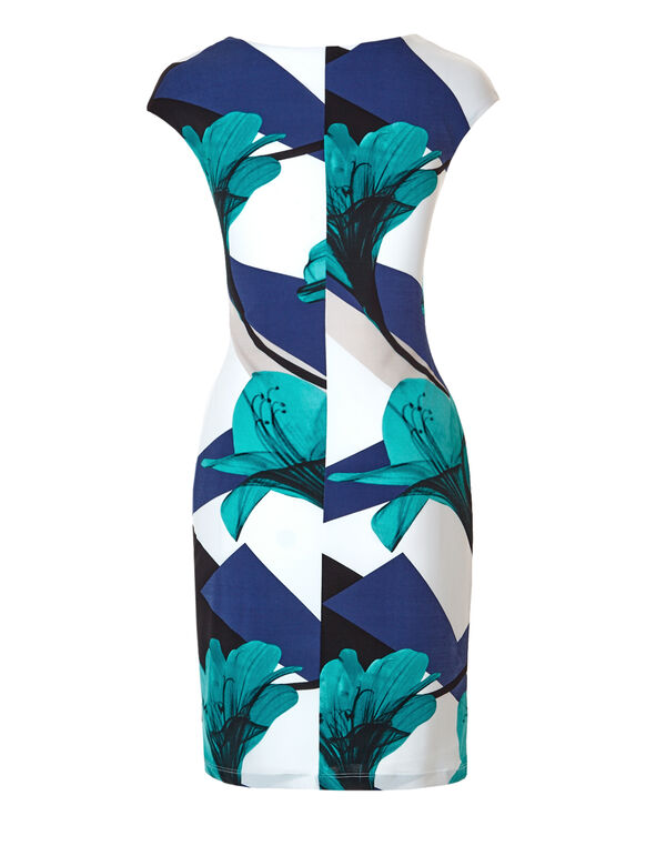 Floral Ruffle Front Dress, White/Blue/Turquoise/Black, hi-res
