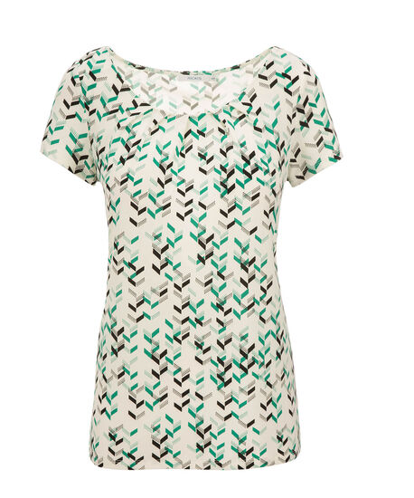 Short Sleeve Pleat Tee, Green Print, hi-res