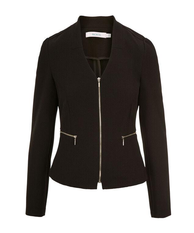 Textured Zipper Blazer, Black, hi-res