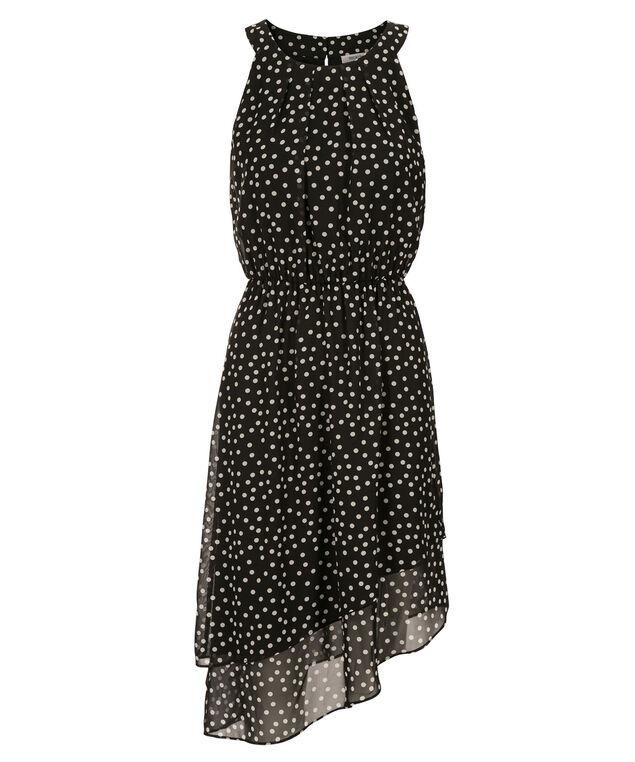 Asymmetrical Tiered Dot Dress, Black/White Dot, hi-res
