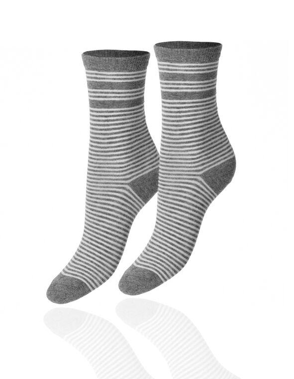 Grey Stripe Crew Sock, Light Grey, hi-res