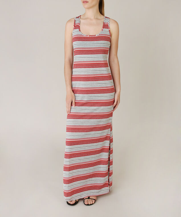 striped maxi dress, CORAL, hi-res