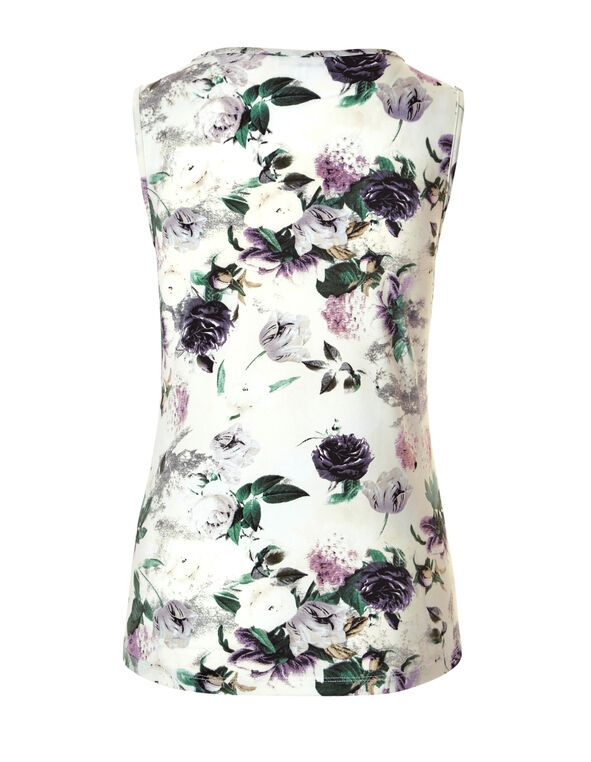 Olive Floral Chain Top, Ivory/Olive/Tangled Plum, hi-res