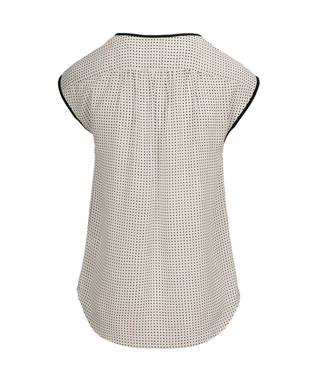 Cap Sleeve Blouse, Black/White Print, hi-res