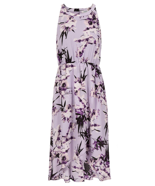 High Low Tulip Skirt Dress, Lilac Print, hi-res