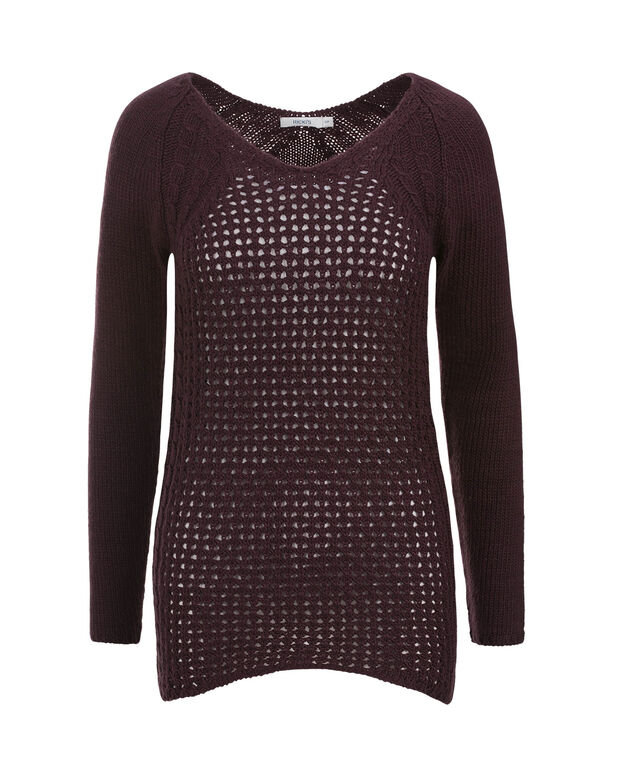 Pretty Pointelle Pullover, Wine Berry, hi-res