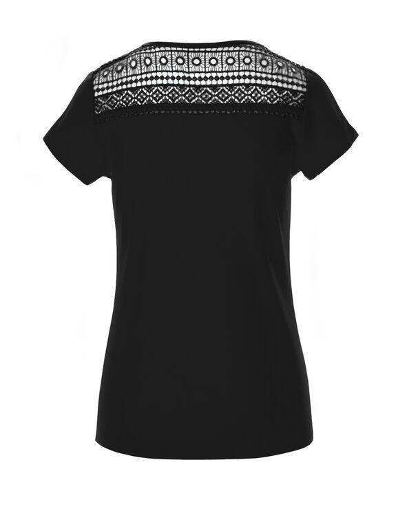 Black Crisscross Crochet Tee, Black, hi-res