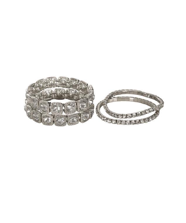 Square Gem Stretch Bracelet Set, Rhodium, hi-res