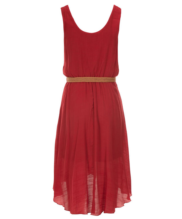 Luxology High Low Gauze Dress, Red, hi-res