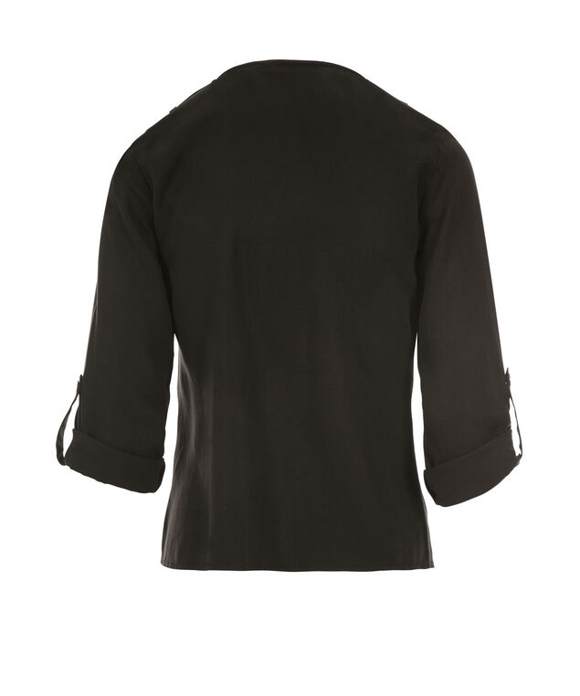 Drape Front Tencel Blazer, Black, hi-res