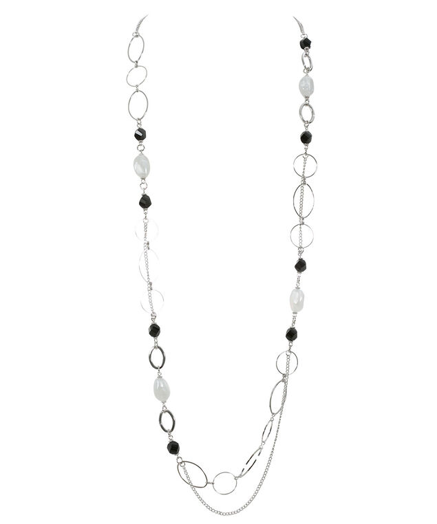 Stationed Bead Necklace, Jet Black/Rhodium, hi-res
