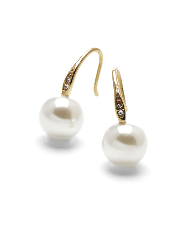 Ivory Pearl Crystal Earring, Gold/Ivory, hi-res