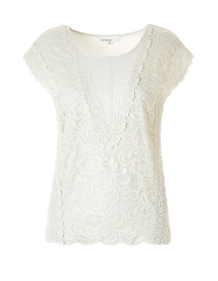 Ivory Lace Scoop Neck Top, Ivory, hi-res