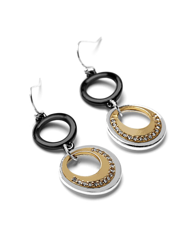 Crystal Circle Link Earring, Silver/Gold/Hematite, hi-res