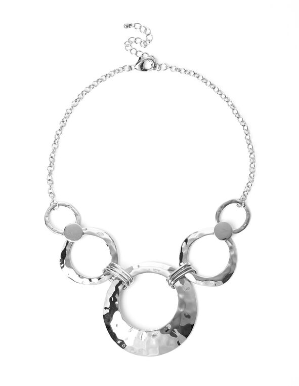 Silver Hammered Circle Necklace, Silver, hi-res