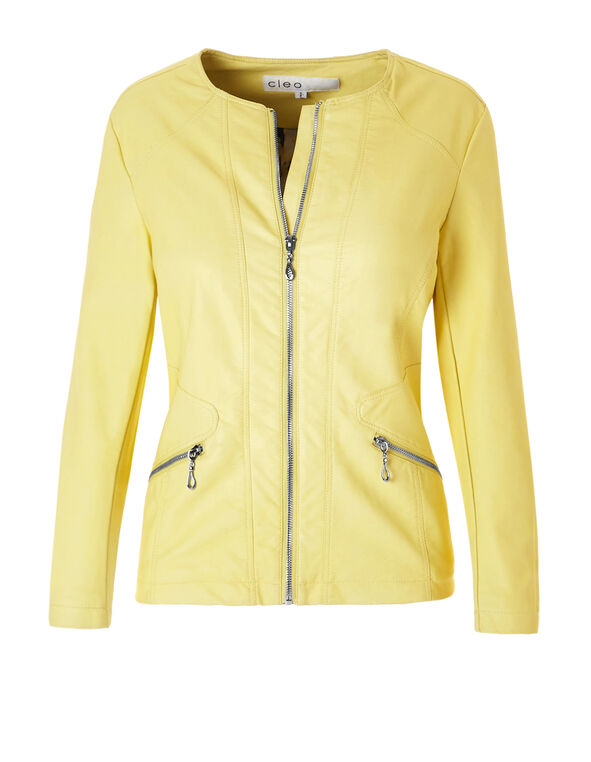 Yellow Ribbed Pleather Jacket, Yellow, hi-res