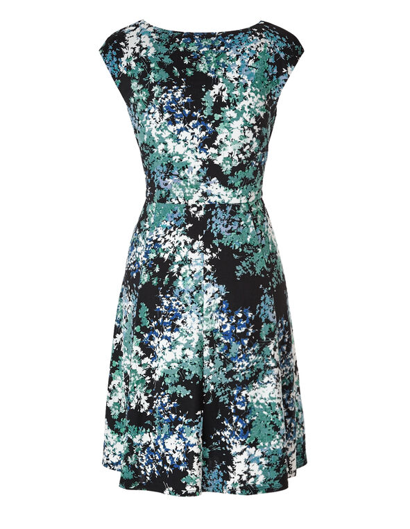 Blue Floral Fit and Flare Dress, Blue/Black/White/Teal, hi-res