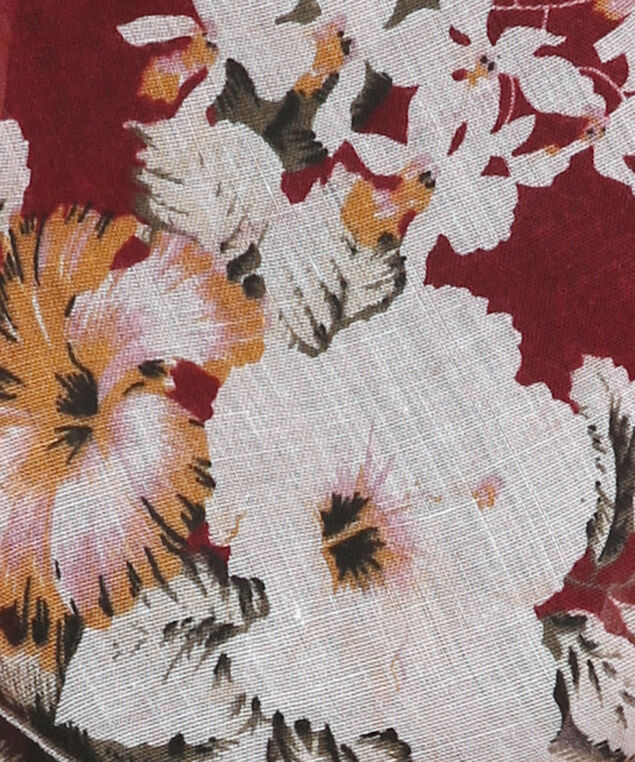 floral print scarf, BURG MIX, hi-res