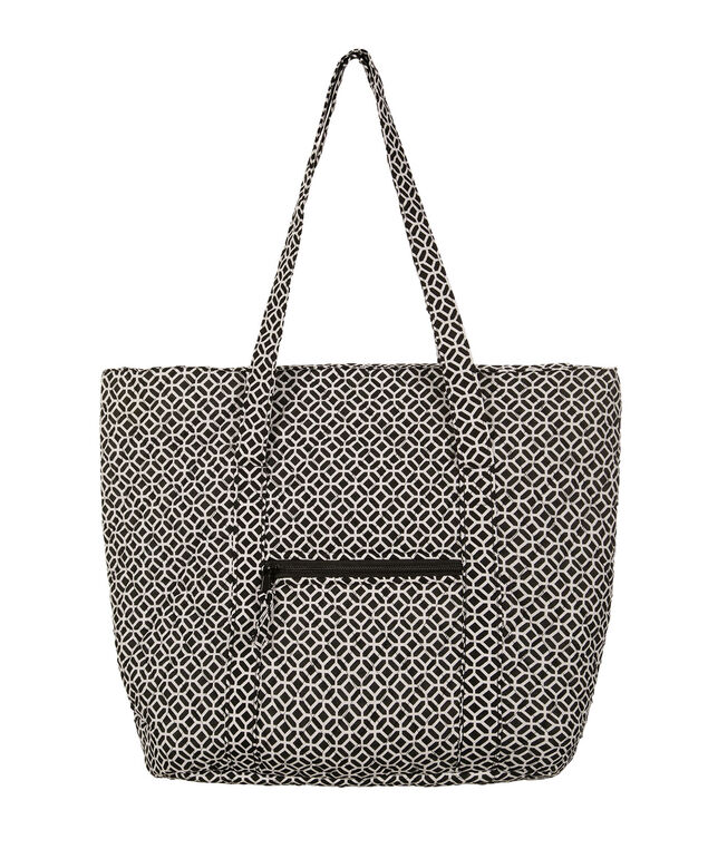 Quilted Medallion Tote Bag, White/Black, hi-res