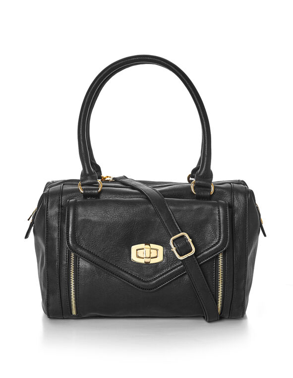 Black Soft Satchel, Black/Gold, hi-res